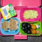 o.l.n.u.r.: Fruchtzwerg, Gurkenblumen (muss ich noch üben), Brot in Stern und Blumenform mit Frischkäse, Trauben-Physalis-Spießchen
